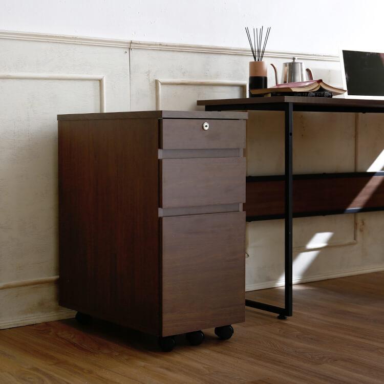 【オフィス収納】:デスクワゴン 収納チェスト 3段 木製